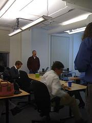 Dan Barrett gets ready to present at BostonPHP