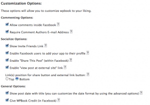 Options available within WPBook for customizing the user's experience