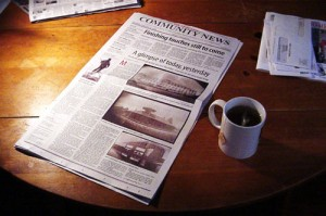 Newspaper and tea <br />(Photo by Matt Callow, cc-by-sa license, click through for details)
