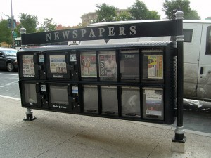 Newspaper stand in downtown Chicago <br />(Photo by Chris Metcalf, cc-by license, click through for details)