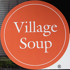 Village Soup sign in Belfast, ME (Photo by Timoth Valentine, cc-by-nc-sa license, click through for details)