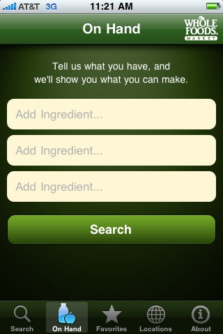 Whole Foods' recipes application provides a store locator, but also lets you locate recipes matching what you have on hand