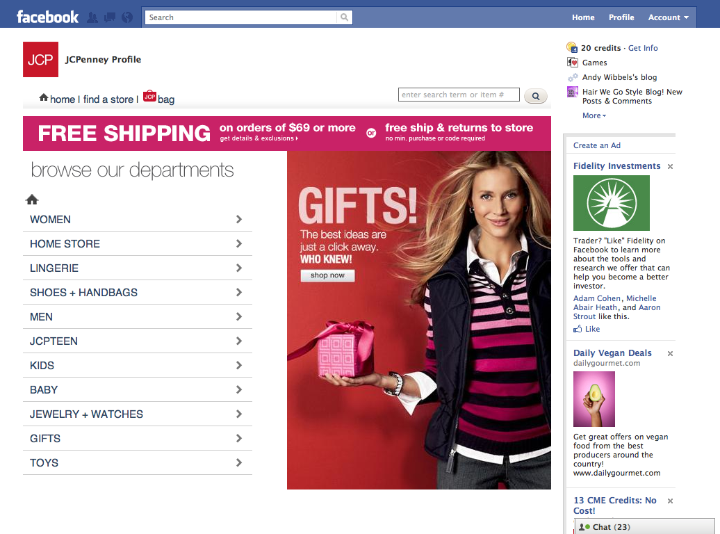 Landing Page of the new JCPenney Facebook Store application