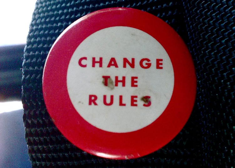 Change the Rules (Photo by Satish Krishnamurthy, cc-by license, http://www.flickr.com/photos/unlistedsightings/3252766510/, rotated and cropped)