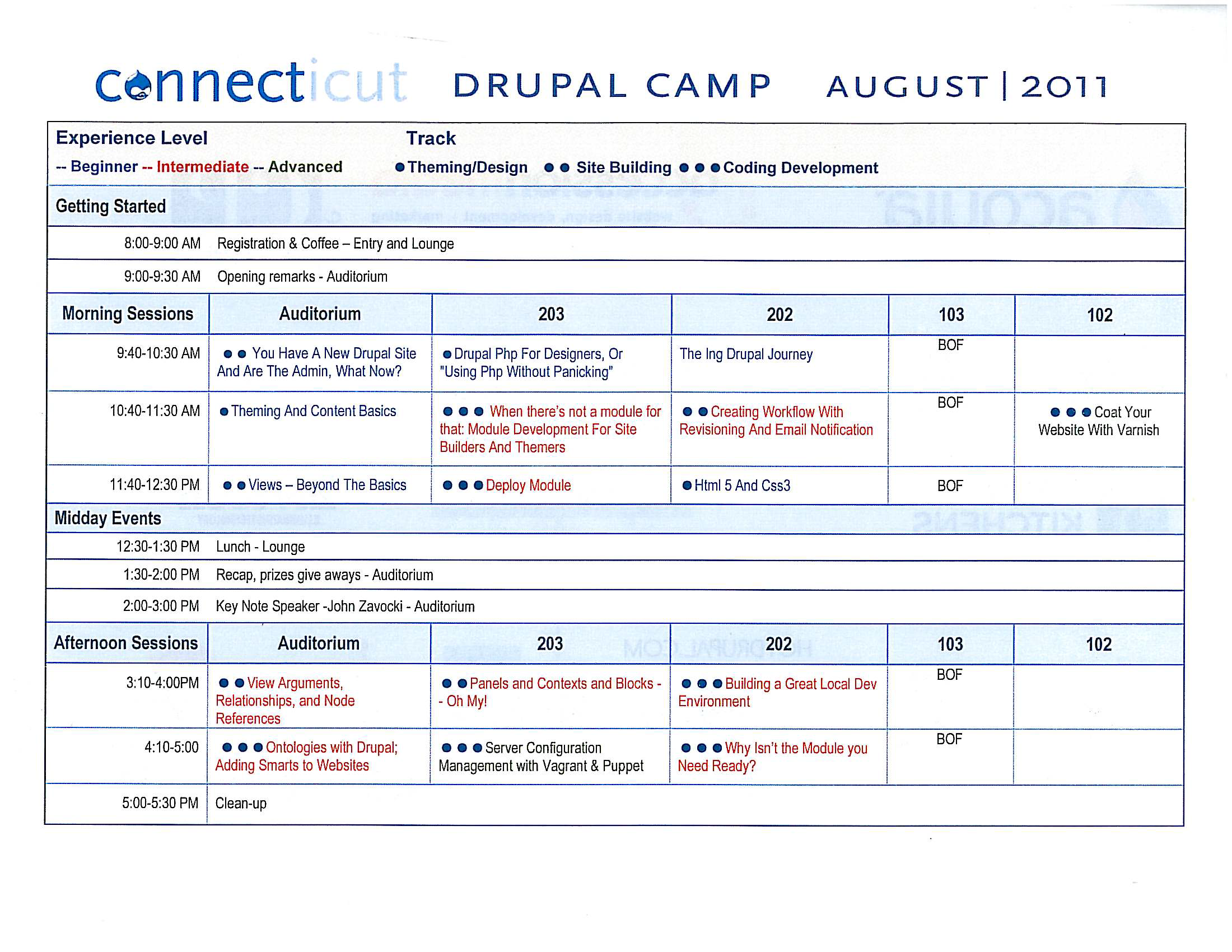 Program for DrupalCamp CT 2011 - click for larger