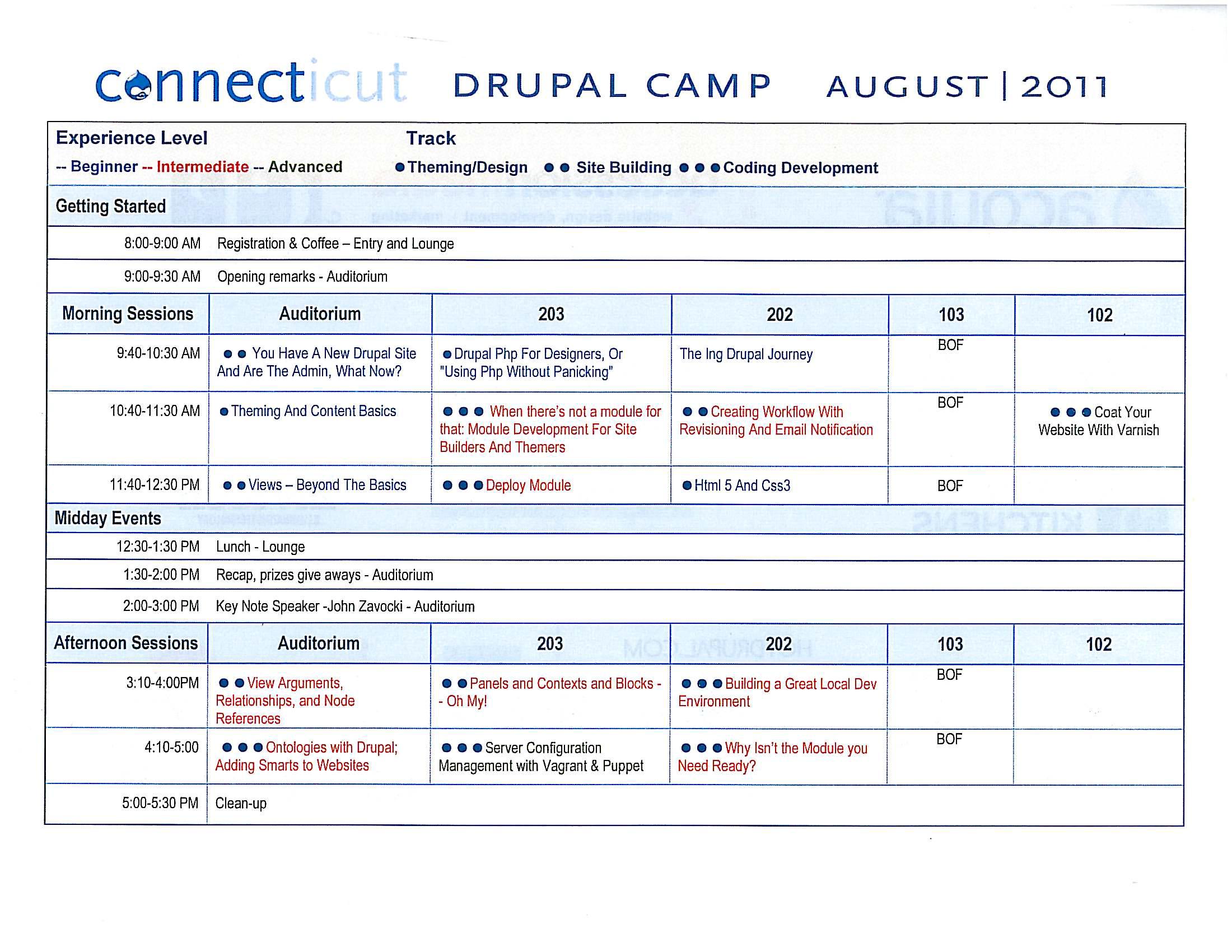 Program for DrupalCamp CT 2011 - click for larger